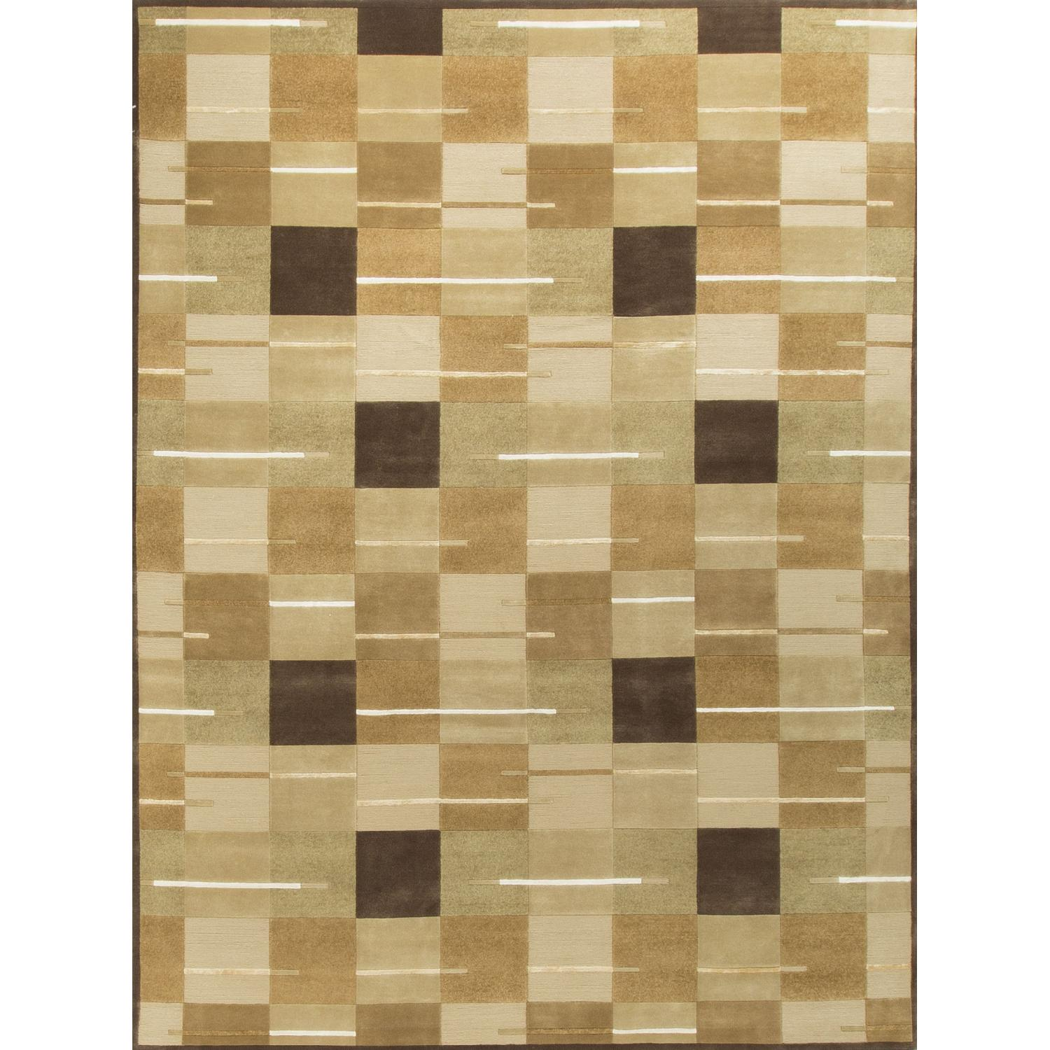 Modern Contemporary Hand Knotted Wool Rug in Beige/Brown/White/Multi - image-0
