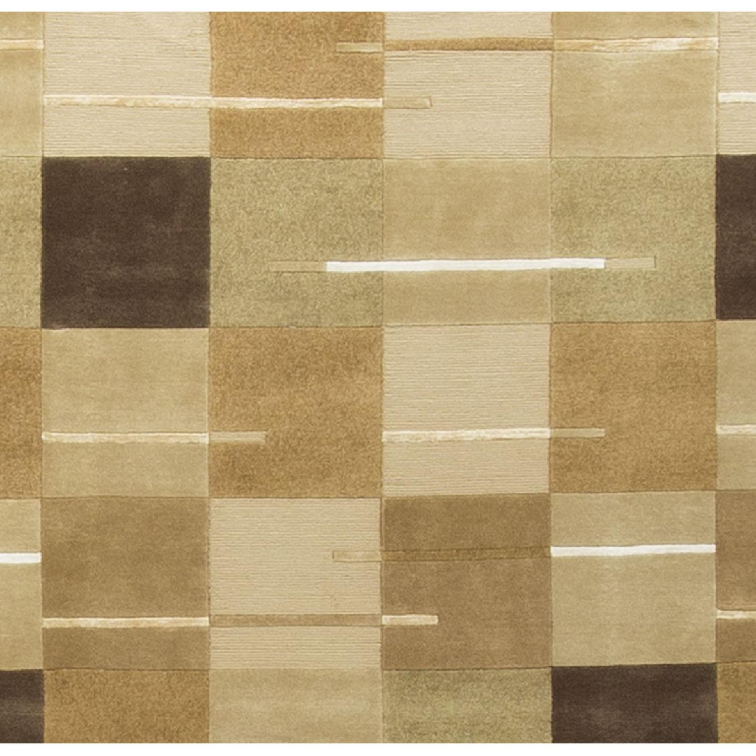 Modern Contemporary Hand Knotted Wool Rug in Beige/Brown/White/Multi - image-2