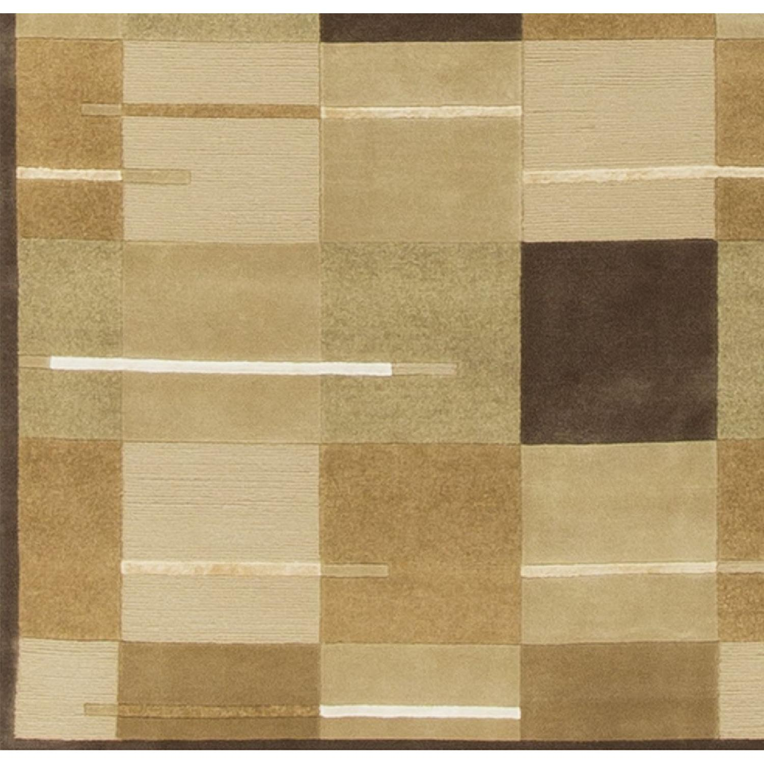 Modern Contemporary Hand Knotted Wool Rug in Beige/Brown/White/Multi - image-3
