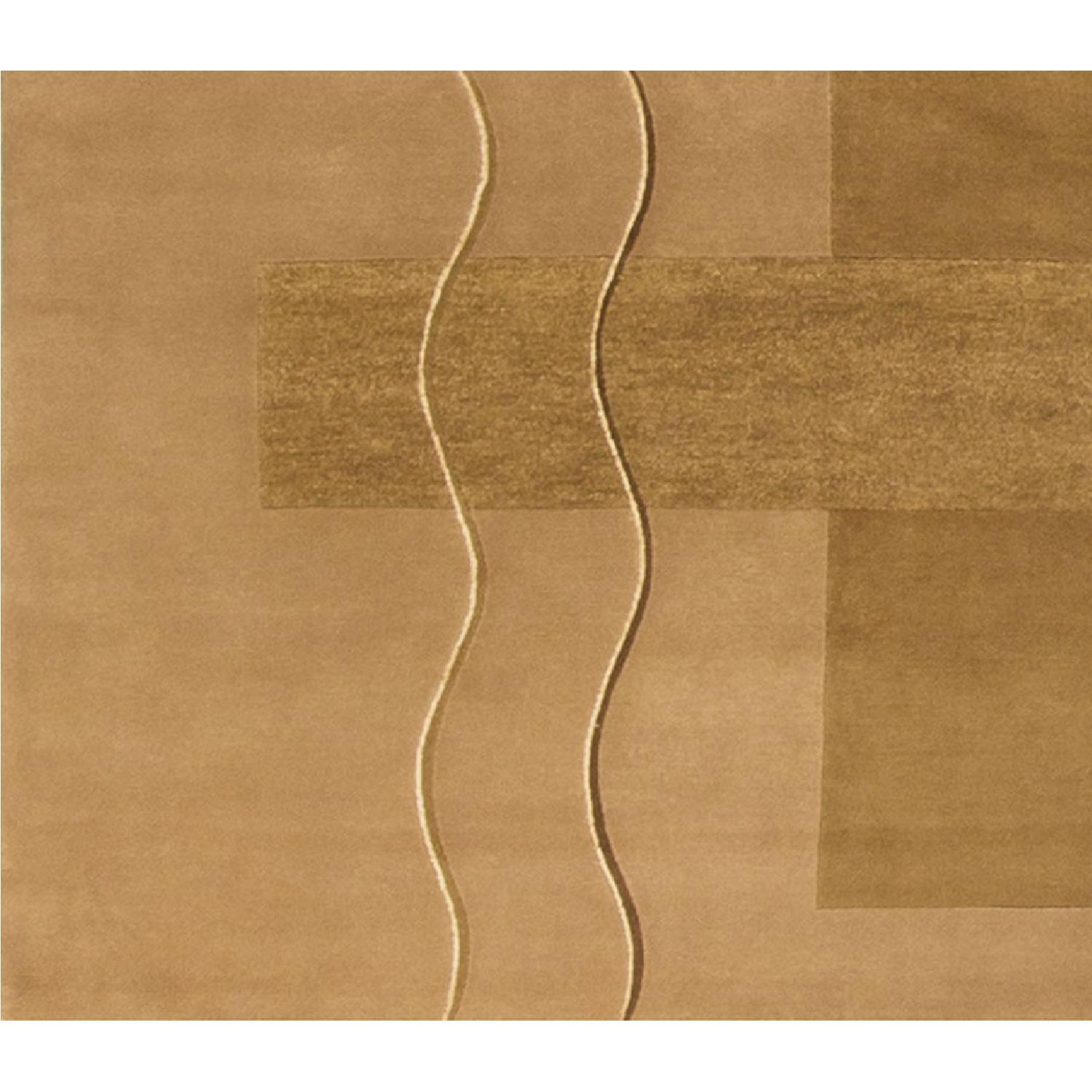 Modern Contemporary Hand Knotted Wool Rug in Beige/Brown - image-3