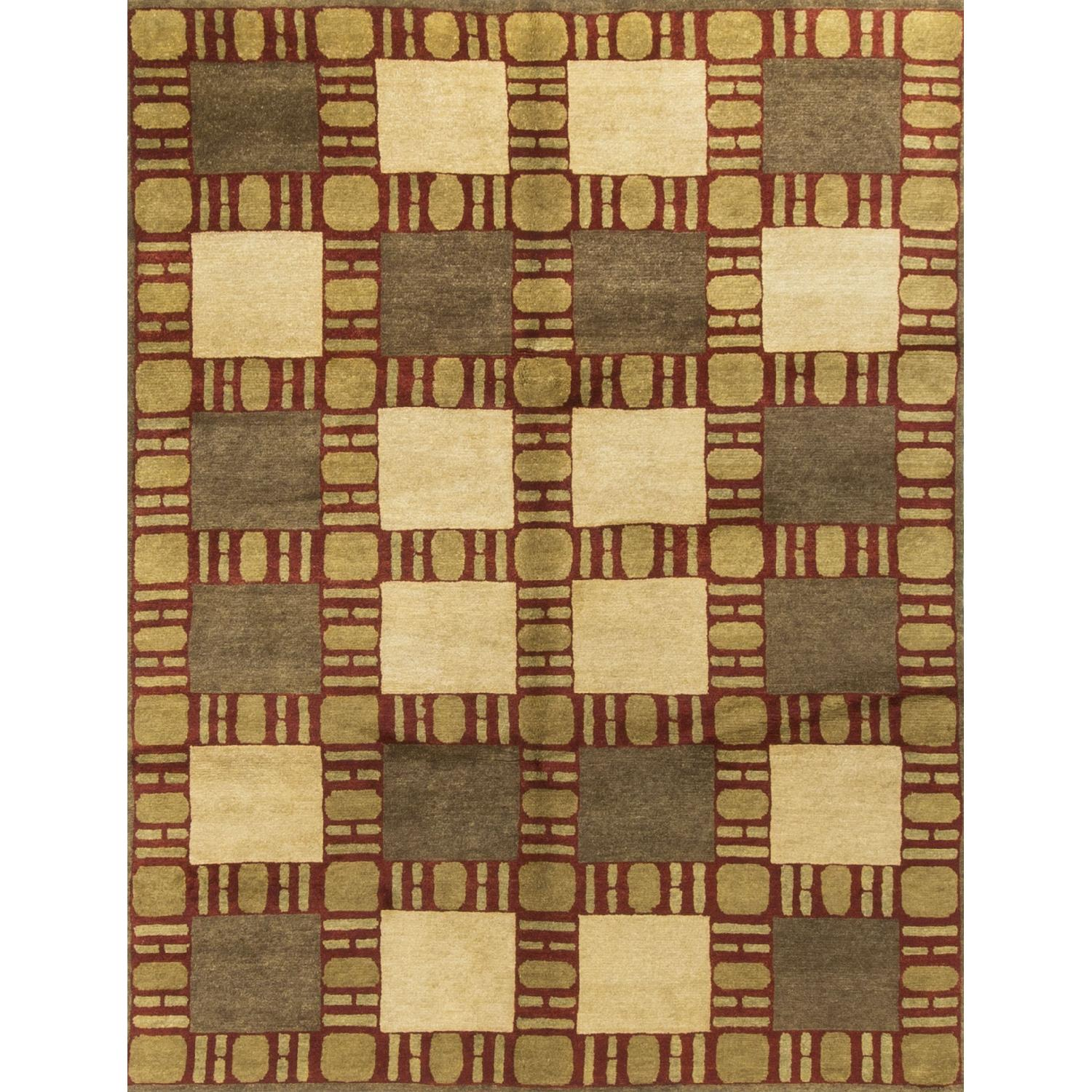 Modern Contemporary Hand Knotted Wool Rug in Beige/Red/Gold - image-0