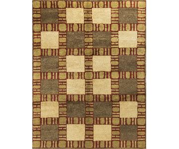 Modern Contemporary Hand Knotted Wool Rug in Beige/Red/Gold