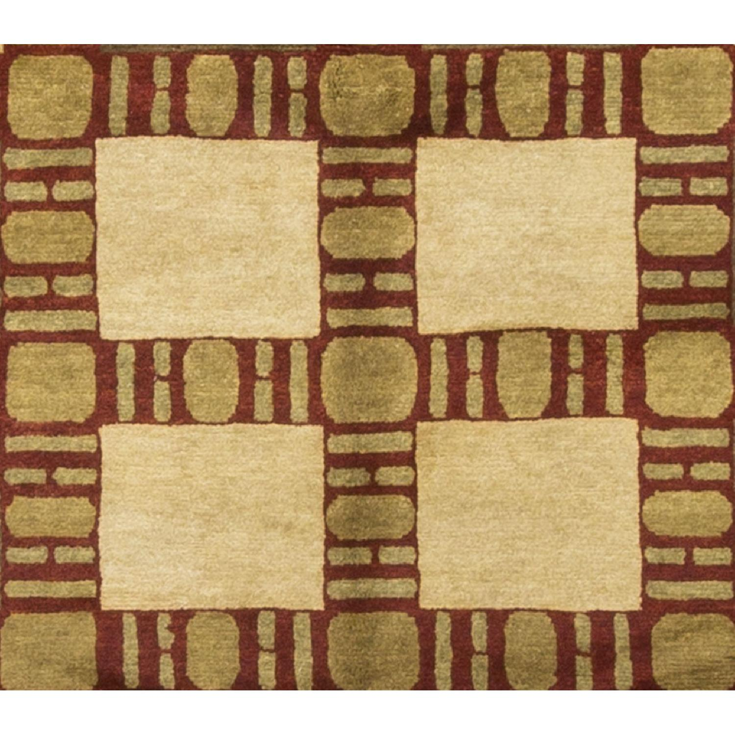 Modern Contemporary Hand Knotted Wool Rug in Beige/Red/Gold - image-2