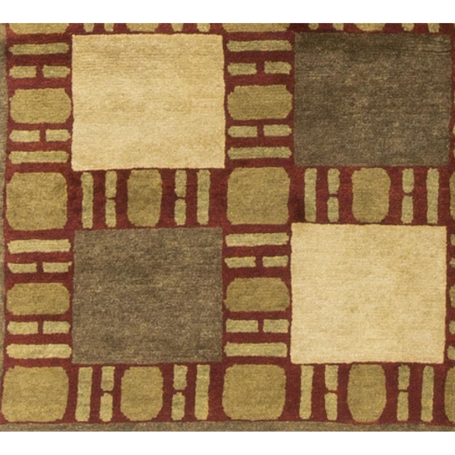 Modern Contemporary Hand Knotted Wool Rug in Beige/Red/Gold - image-3