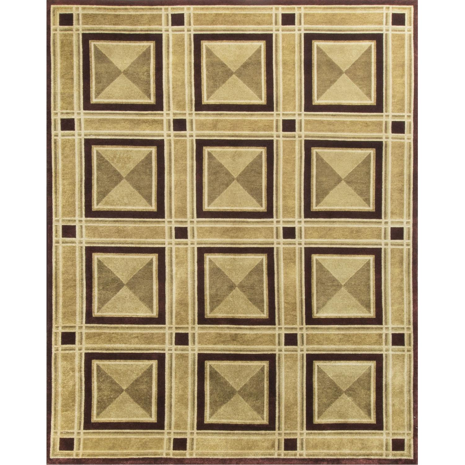 Modern Contemporary Hand Knotted Wool Rug in Black/Beige - image-0