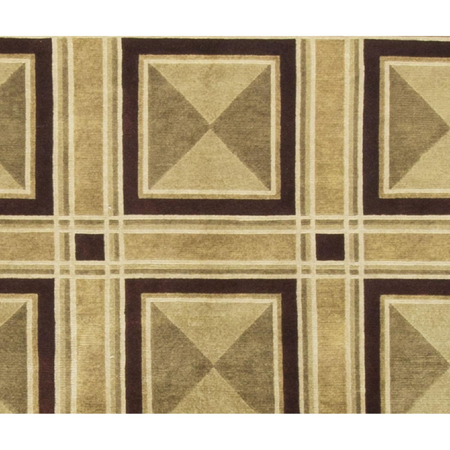 Modern Contemporary Hand Knotted Wool Rug in Black/Beige - image-2