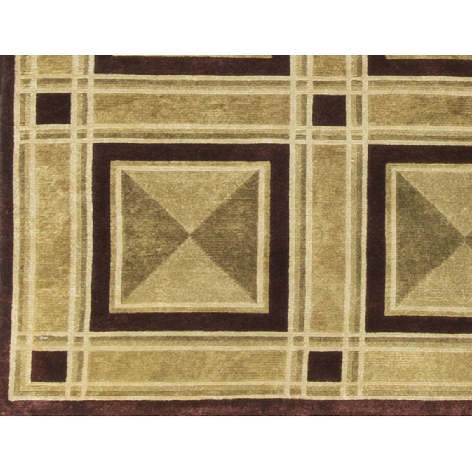 Modern Contemporary Hand Knotted Wool Rug in Black/Beige - image-3