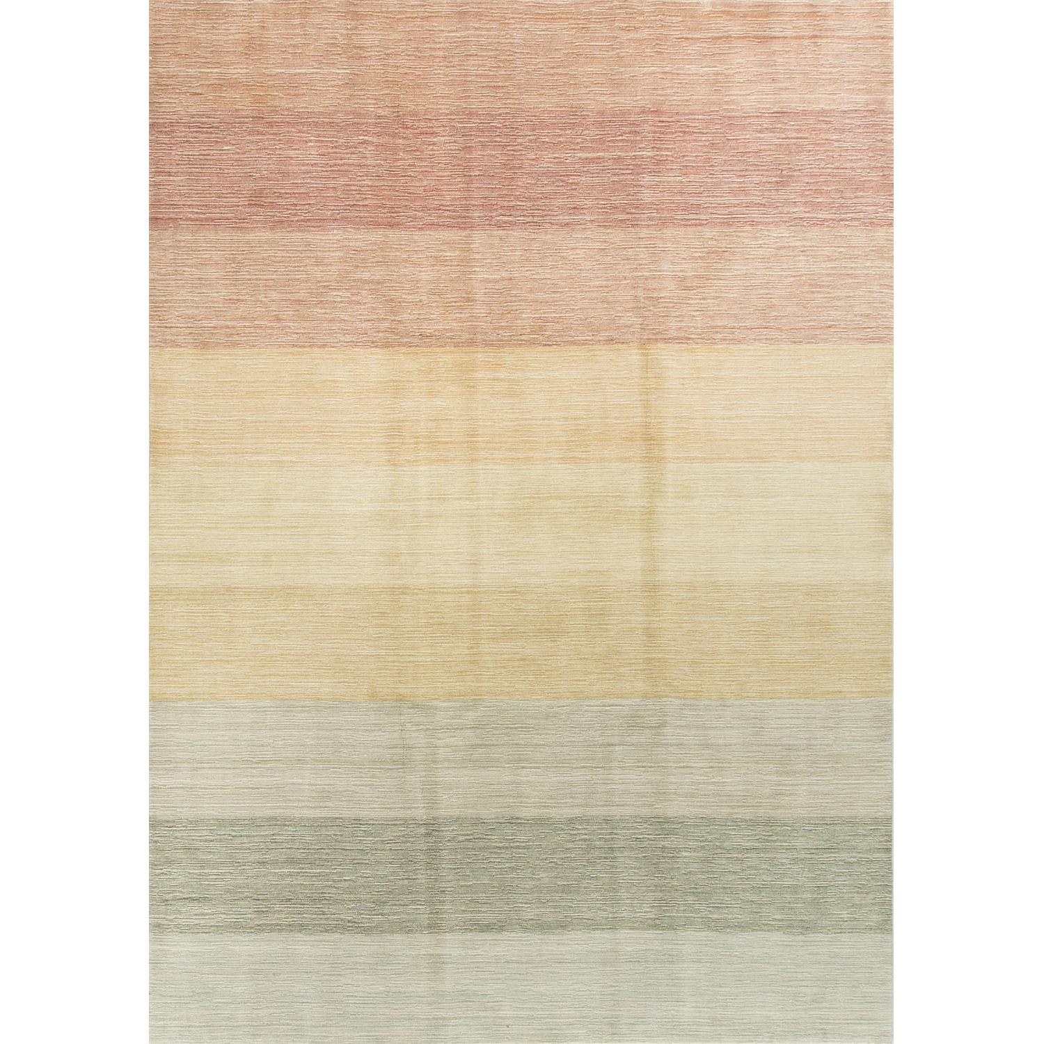 Modern Contemporary Hand Knotted Wool Rug in Beige/Red/Green - image-0