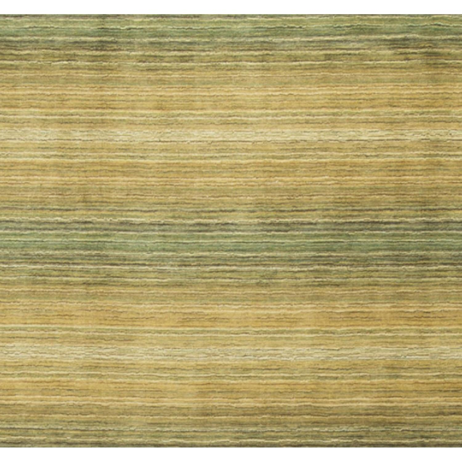 Modern Contemporary Hand Knotted Wool Rug in Beige/Green - image-2