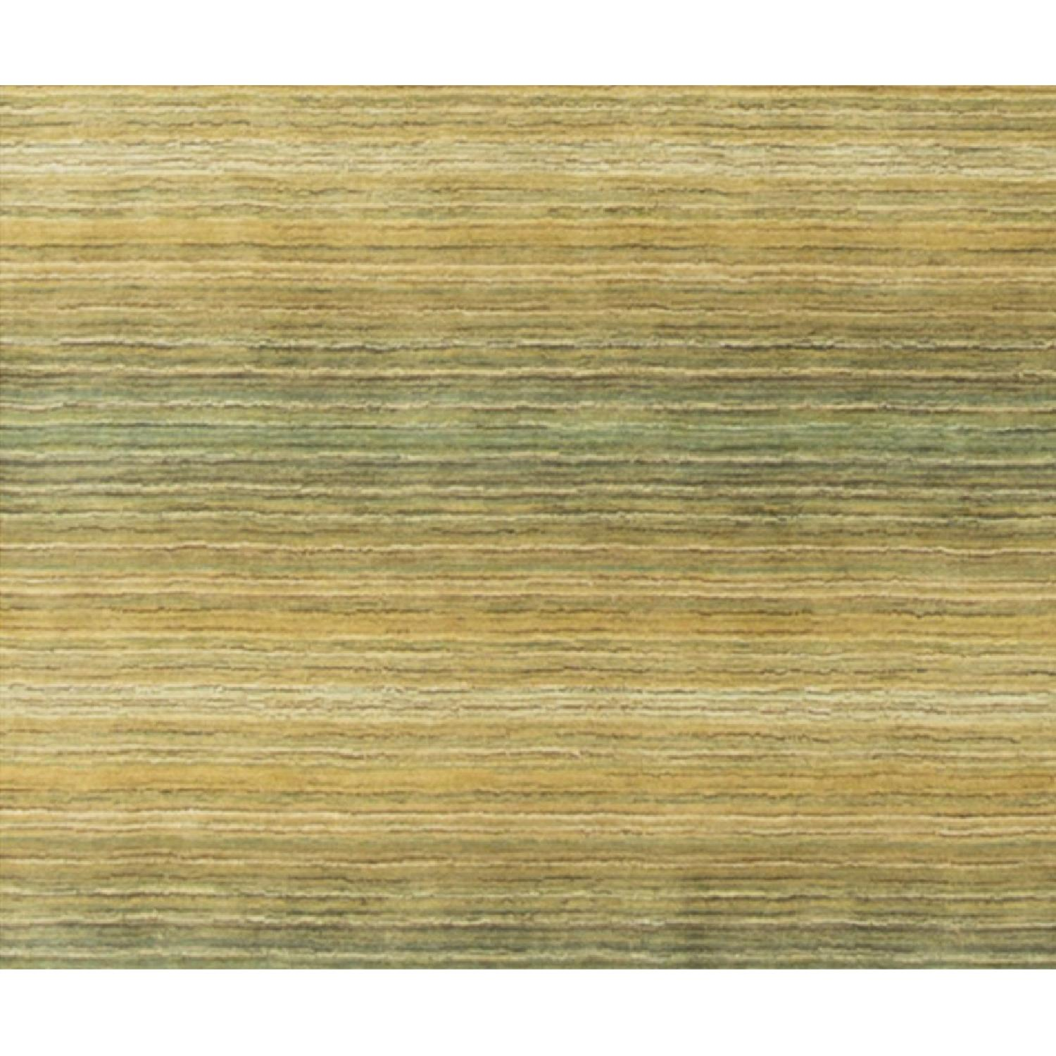 Modern Contemporary Hand Knotted Wool Rug in Beige/Green - image-3