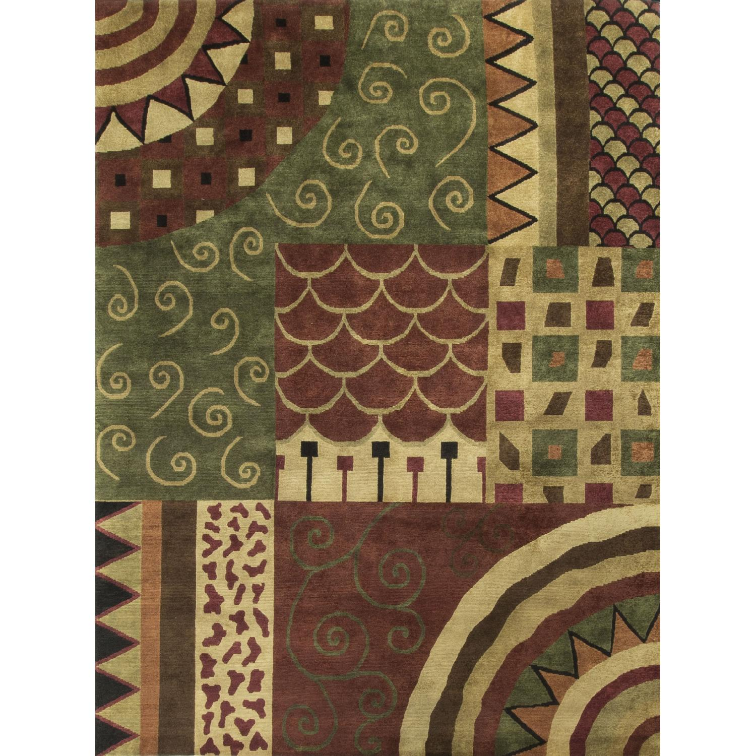 Modern Contemporary Hand Knotted Wool Rug in Beige/Red/Black/Green - image-0