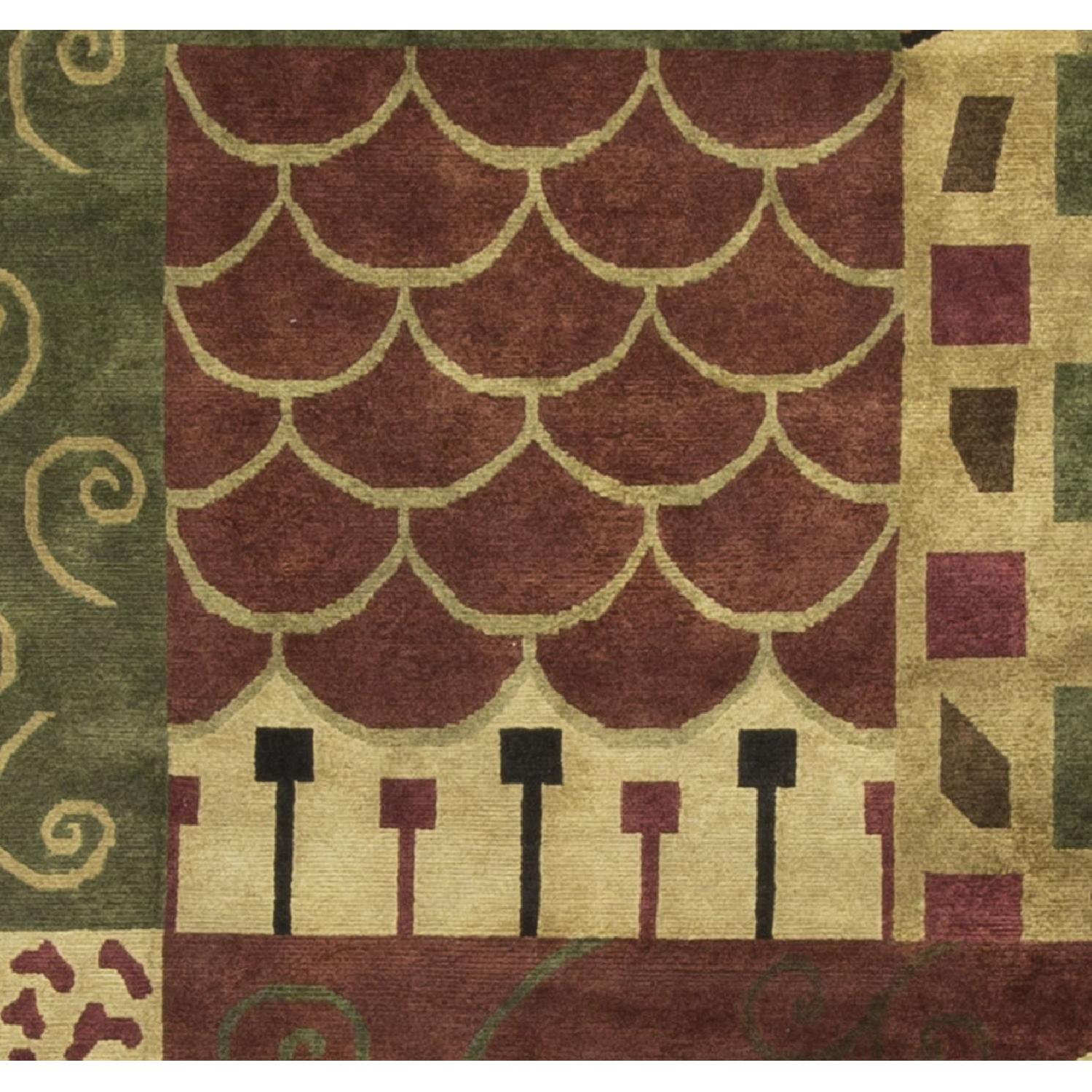 Modern Contemporary Hand Knotted Wool Rug in Beige/Red/Black/Green - image-2