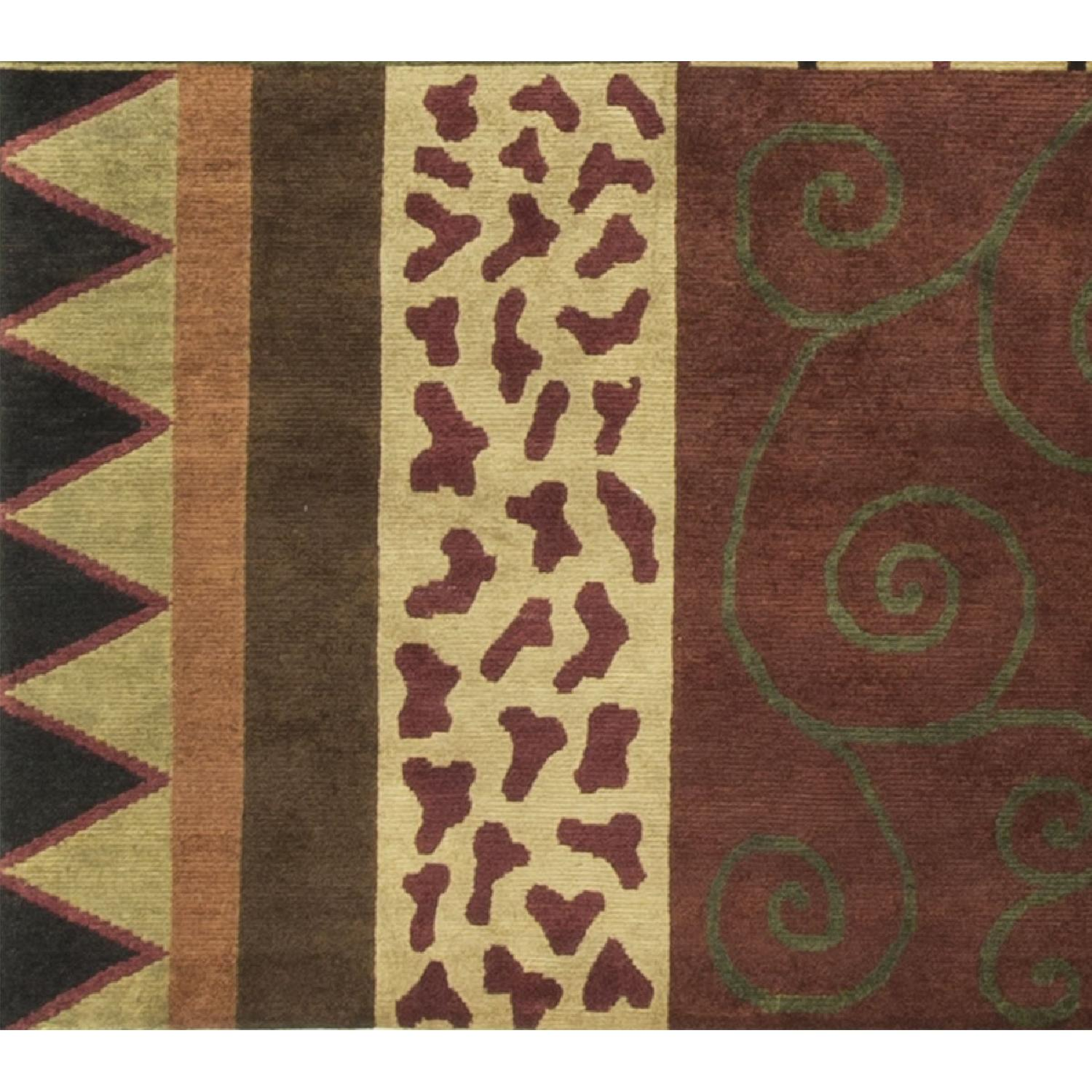 Modern Contemporary Hand Knotted Wool Rug in Beige/Red/Black/Green - image-3