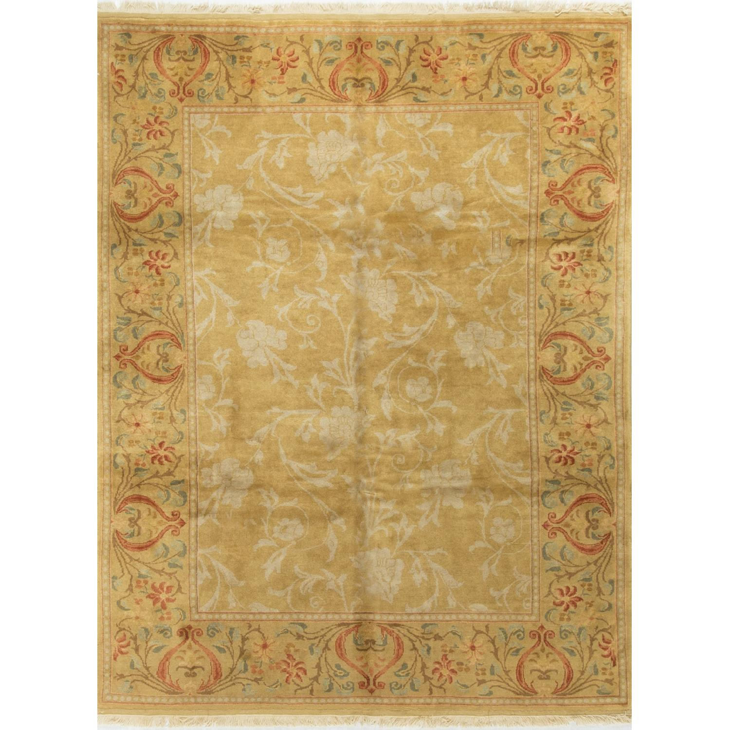 Modern Contemporary Hand Knotted Wool Rug in Gold - image-3