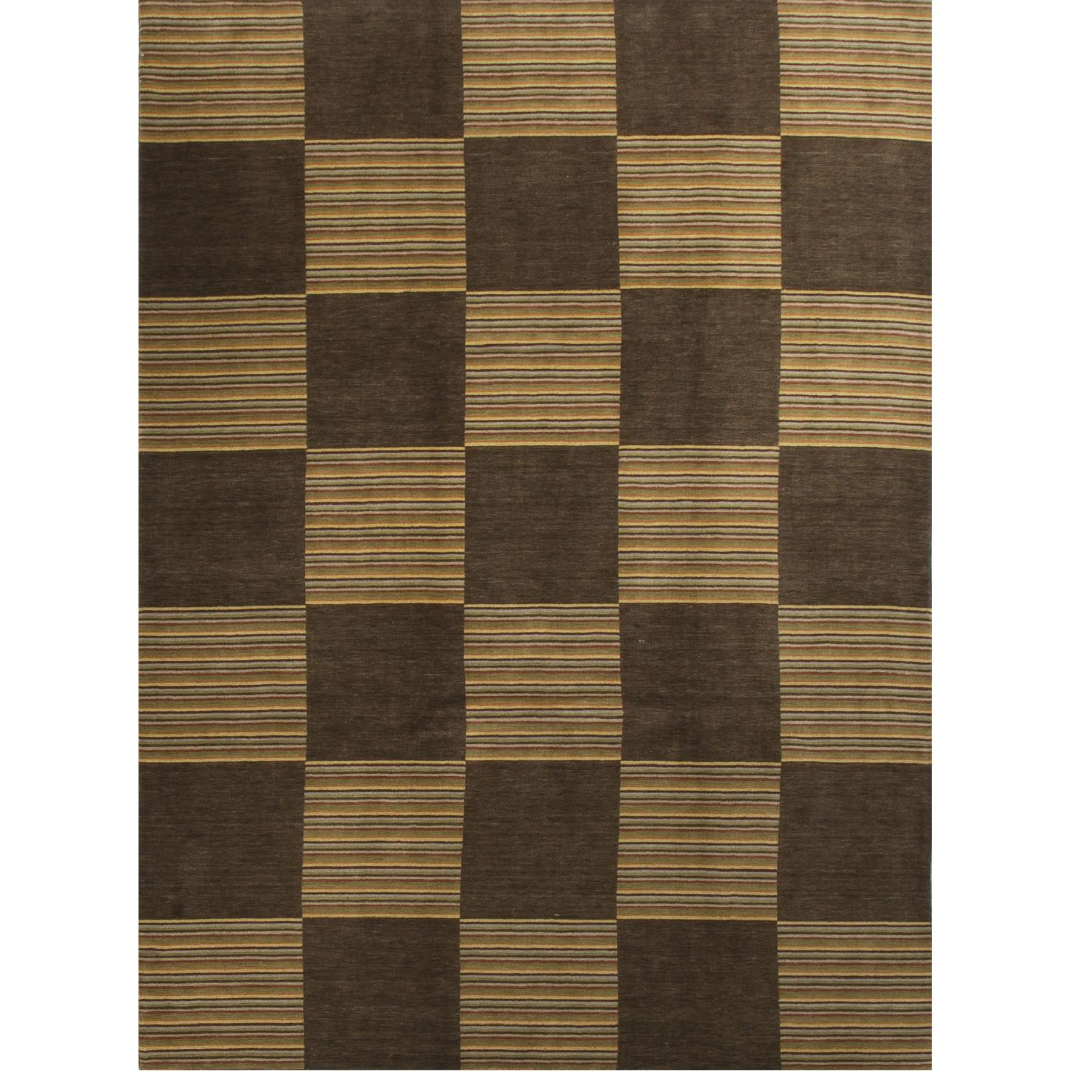 Modern Contemporary Hand Knotted Wool Rug in Brown/Beige - image-0