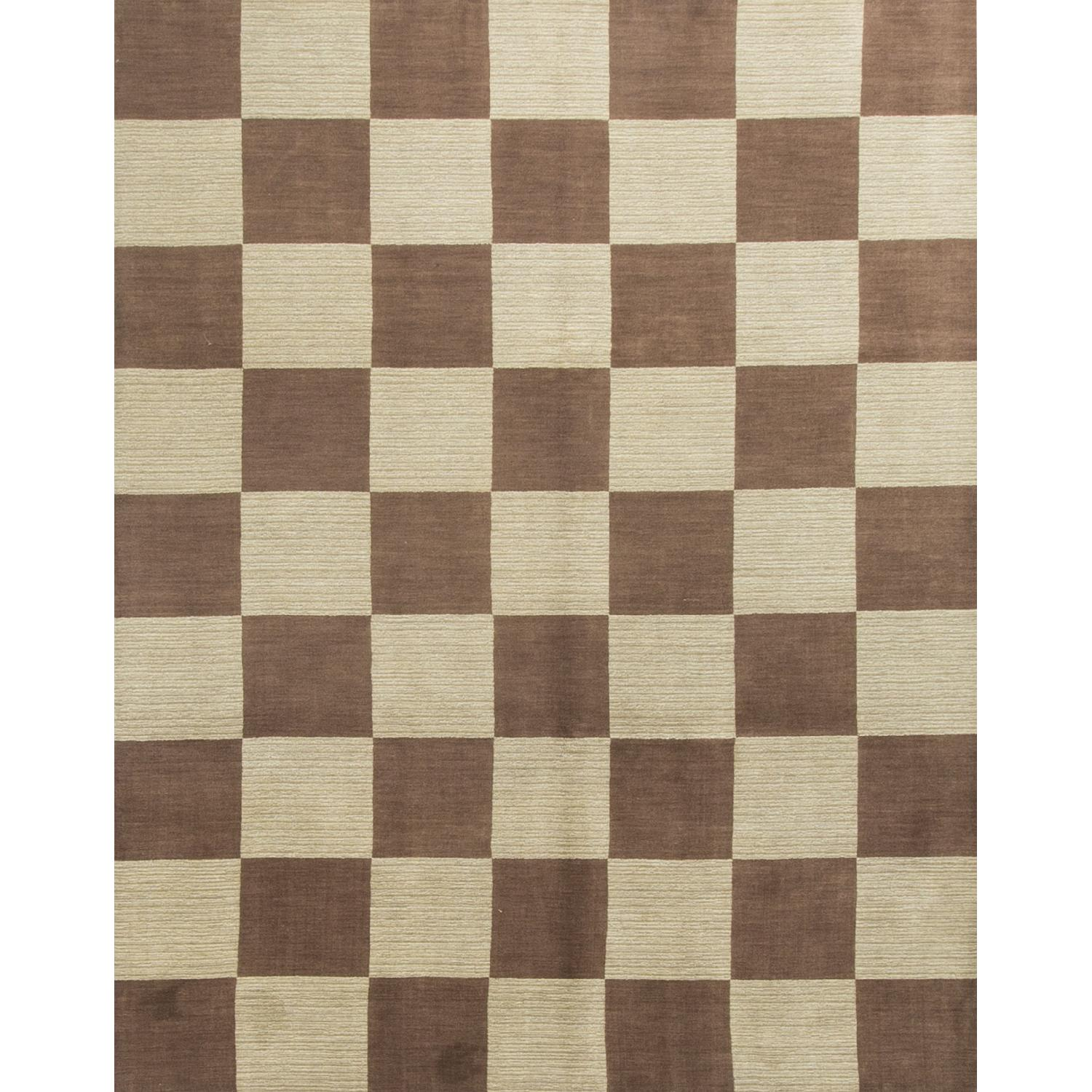 Modern Contemporary Hand Knotted Wool Rug in Brown/Multi - image-0