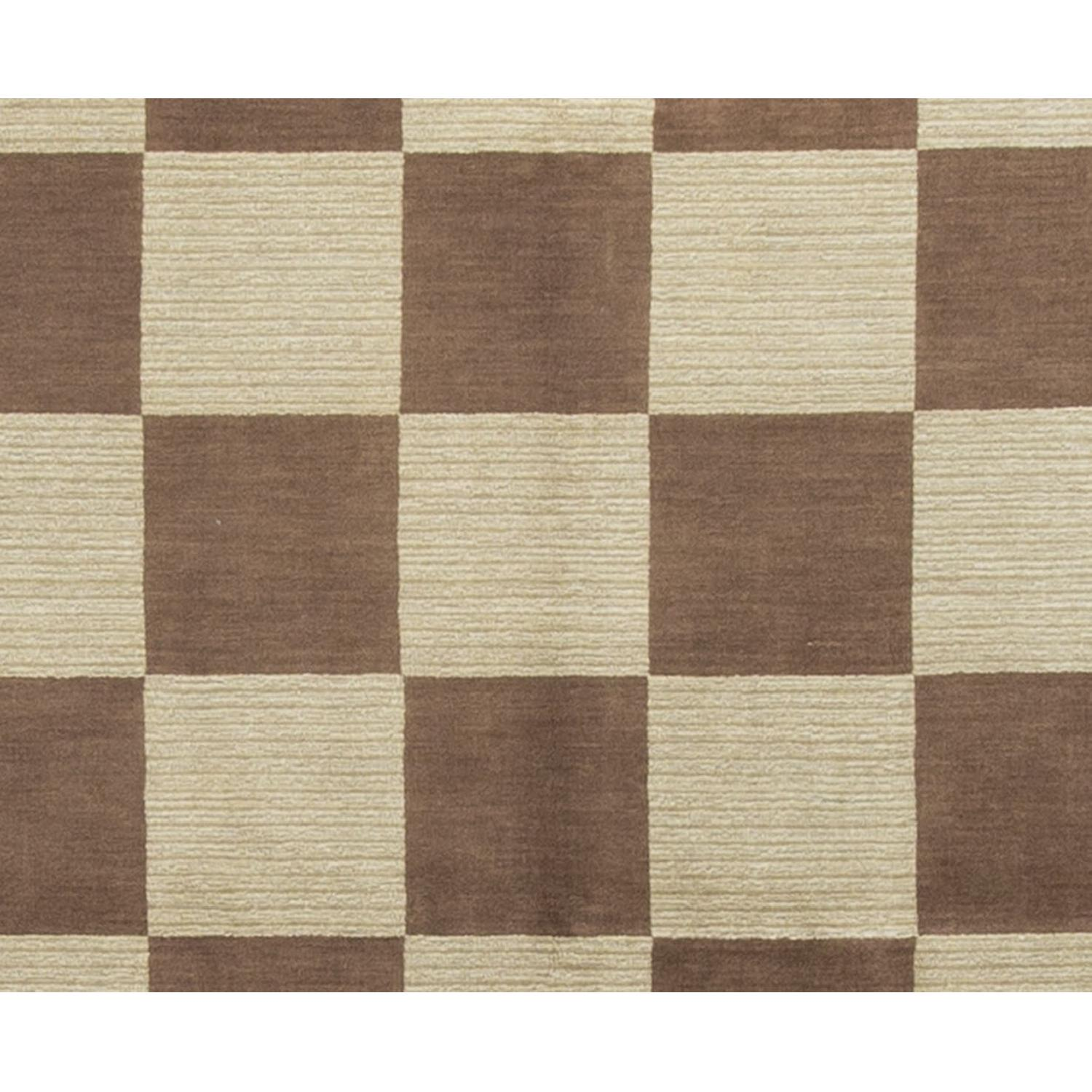 Modern Contemporary Hand Knotted Wool Rug in Brown/Multi - image-2