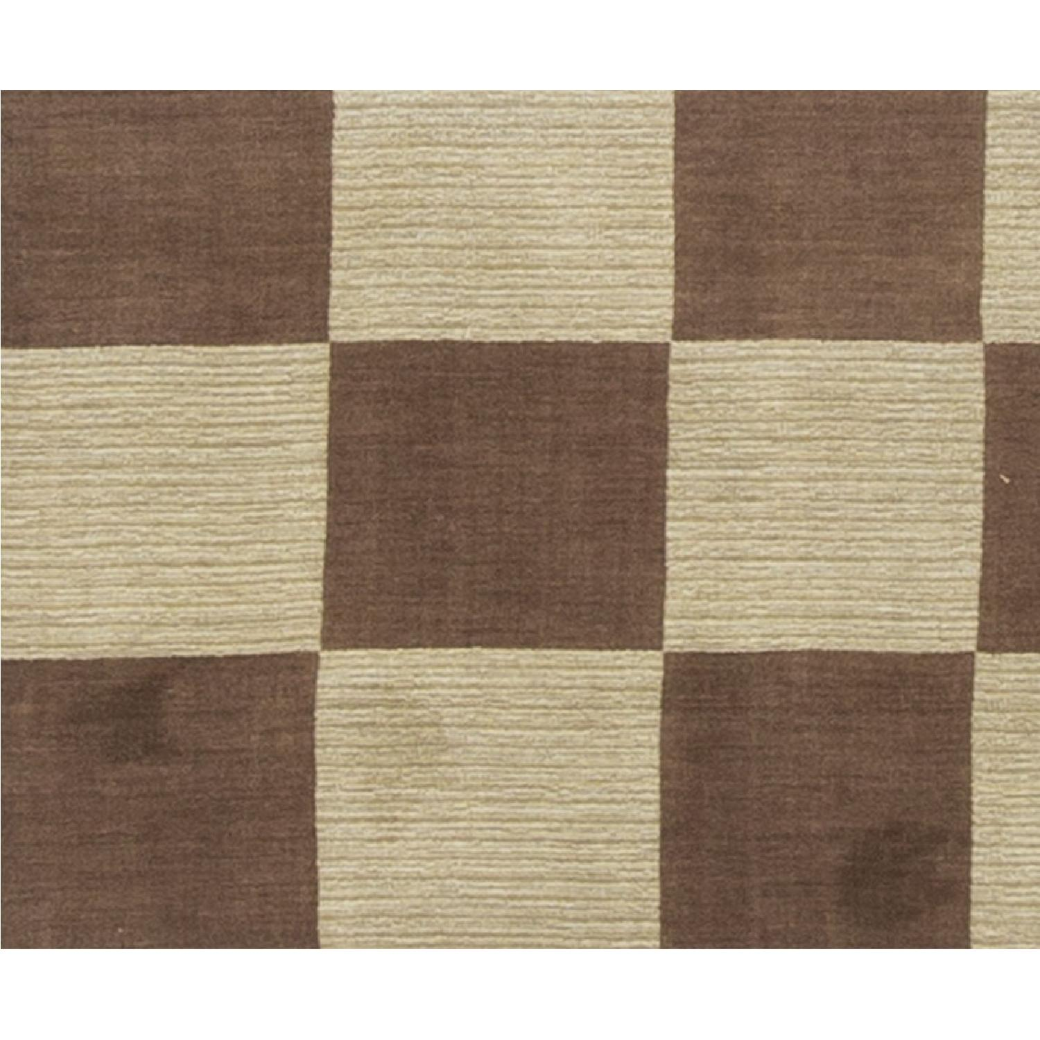 Modern Contemporary Hand Knotted Wool Rug in Brown/Multi - image-3