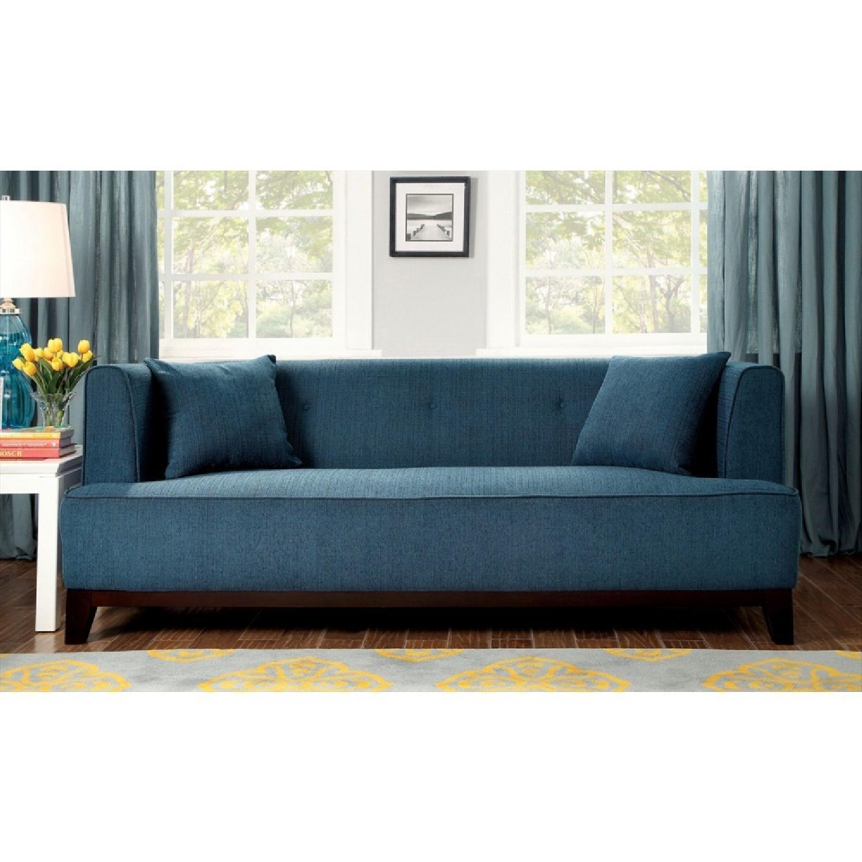 Furniture of America Sofia Dark Teal Sofa - image-1