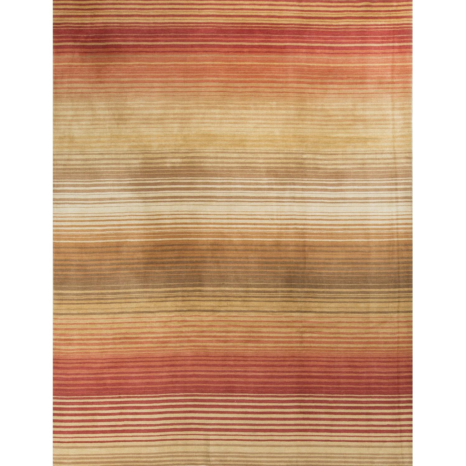 Modern Contemporary Hand Knotted Wool Rug in Soft Pastels - image-0