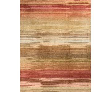 Modern Contemporary Hand Knotted Wool Rug in Soft Pastels