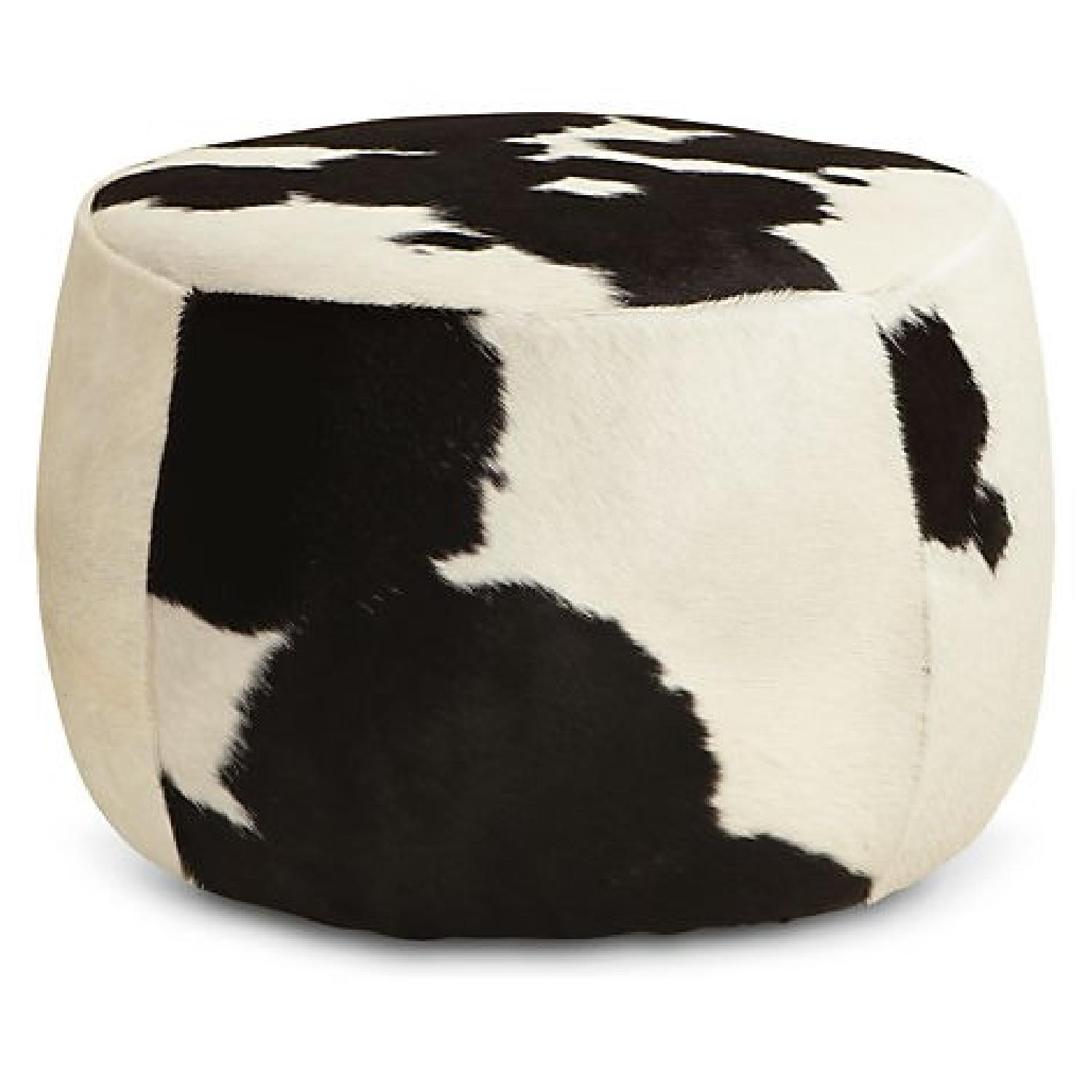 Room & Board Lind Cowhide Round Ottomans - image-0