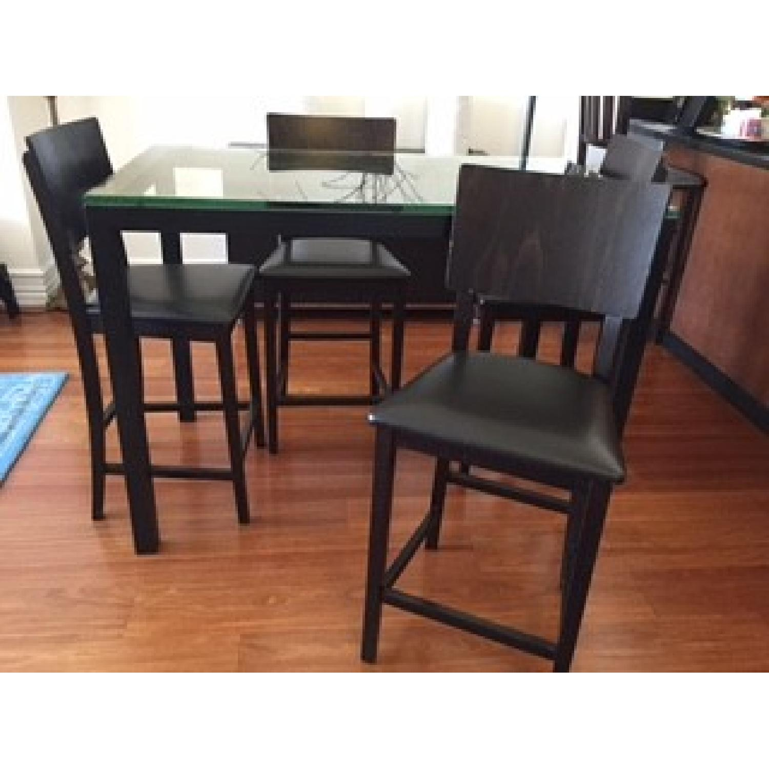 Crate & Barrel Clear Glass Top/ Natural Dark Steel Base Parsons High Dining Table w/ 4 Bar Stools - image-1