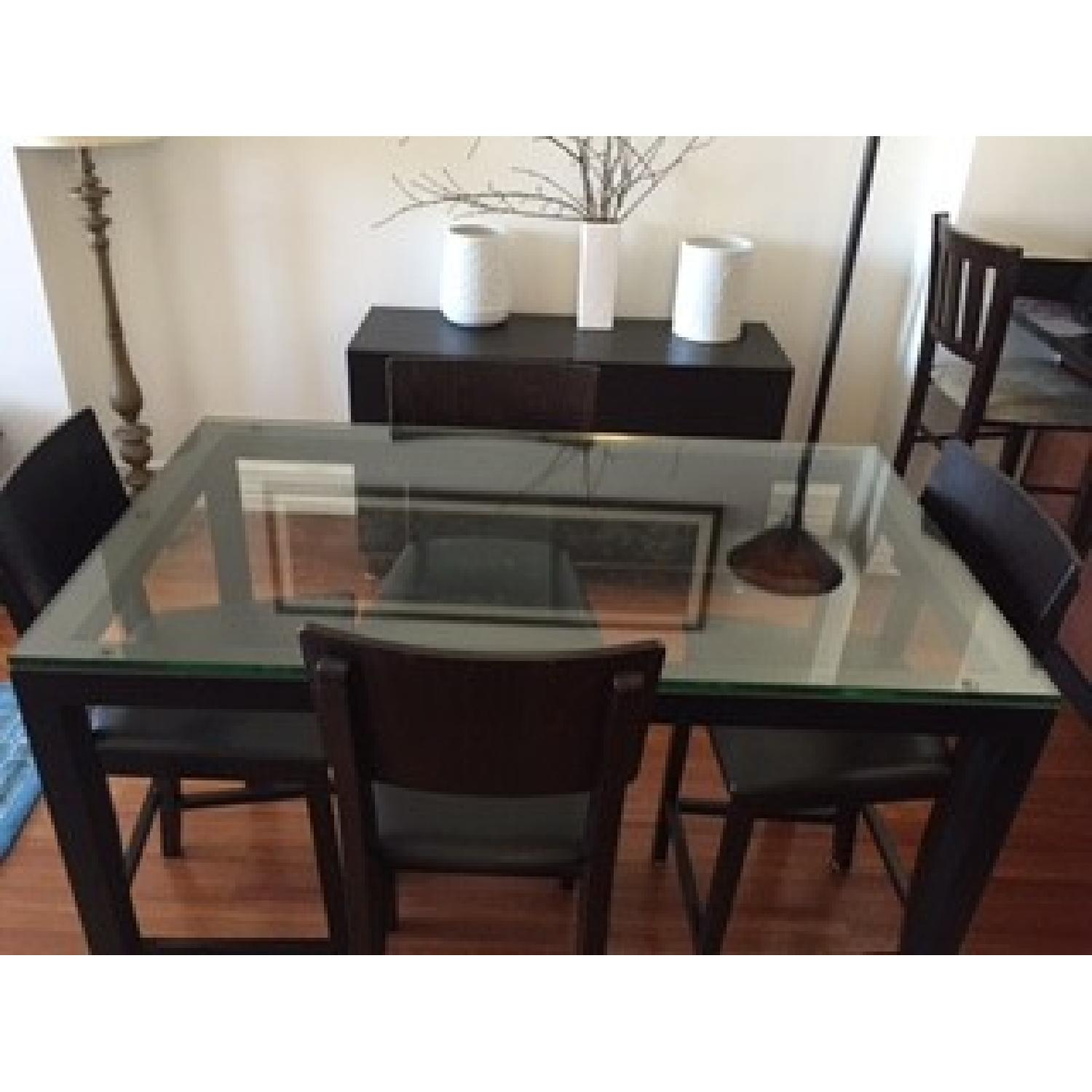 Crate & Barrel Clear Glass Top/ Natural Dark Steel Base Parsons High Dining Table w/ 4 Bar Stools - image-2