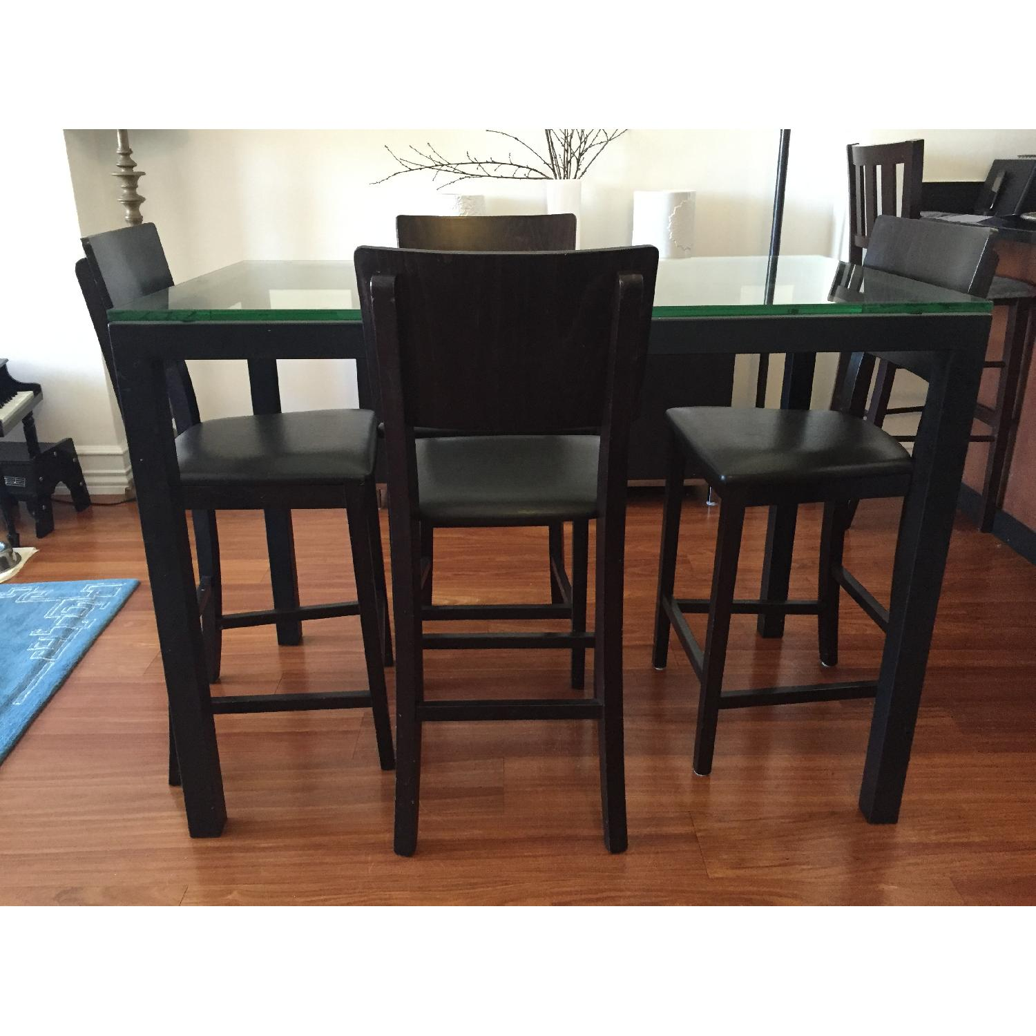 Crate & Barrel Clear Glass Top/ Natural Dark Steel Base Parsons High Dining Table w/ 4 Bar Stools - image-3