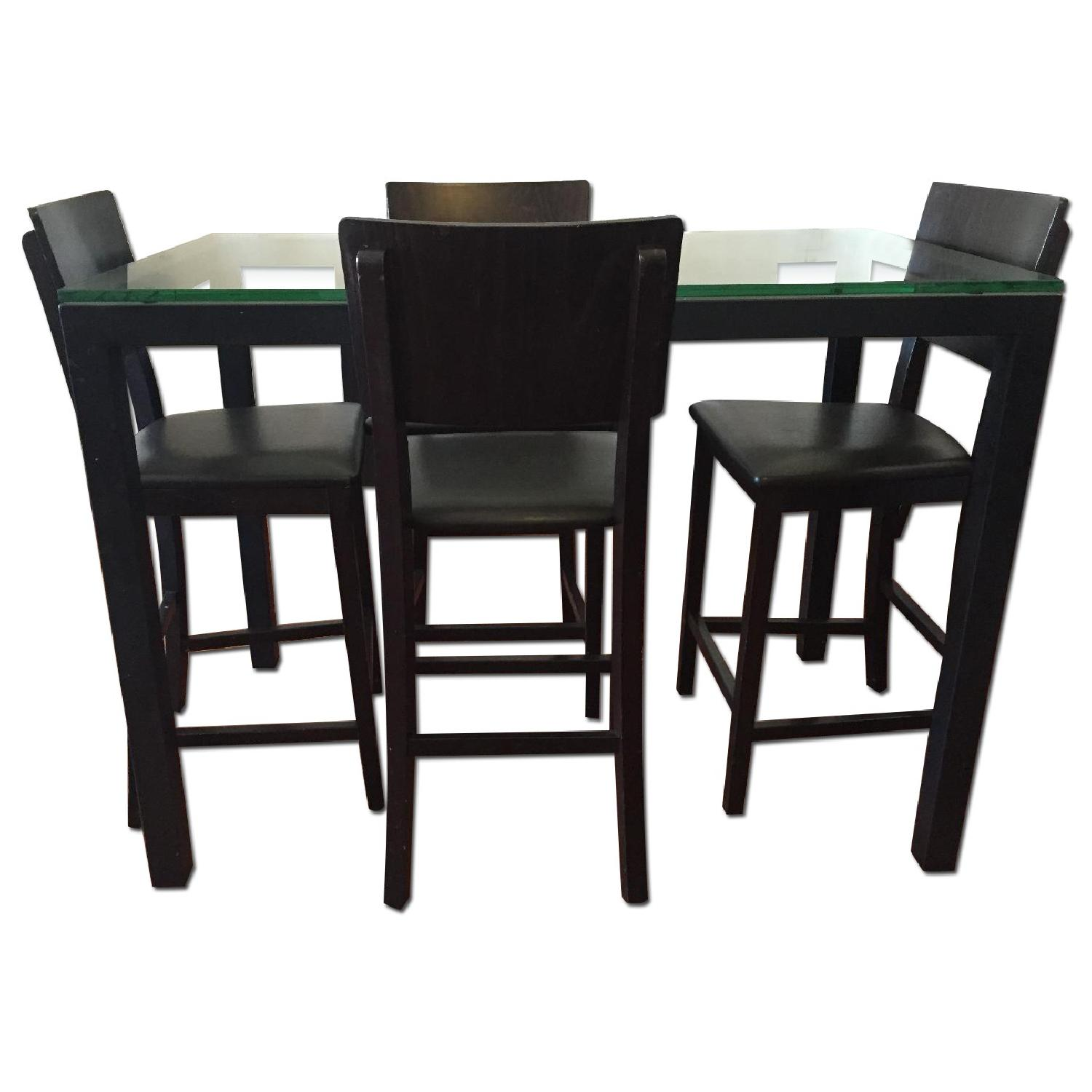 Crate & Barrel Clear Glass Top/ Natural Dark Steel Base Parsons High Dining Table w/ 4 Bar Stools - image-0