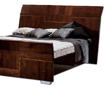 Alf King Low Profile Sleigh Bed + Dresser w/ Mirror + 2 Nighstands
