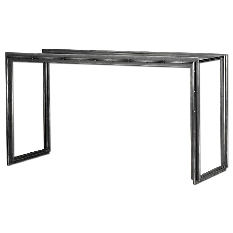 Restoration Hardware Waterfall Glass & Iron Console Table - image-0