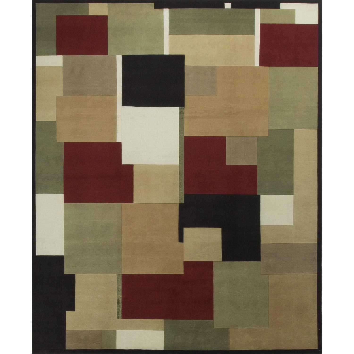 Modern Contemporary Hand Knotted Wool Rug in Red/White/Black/Beige - image-0