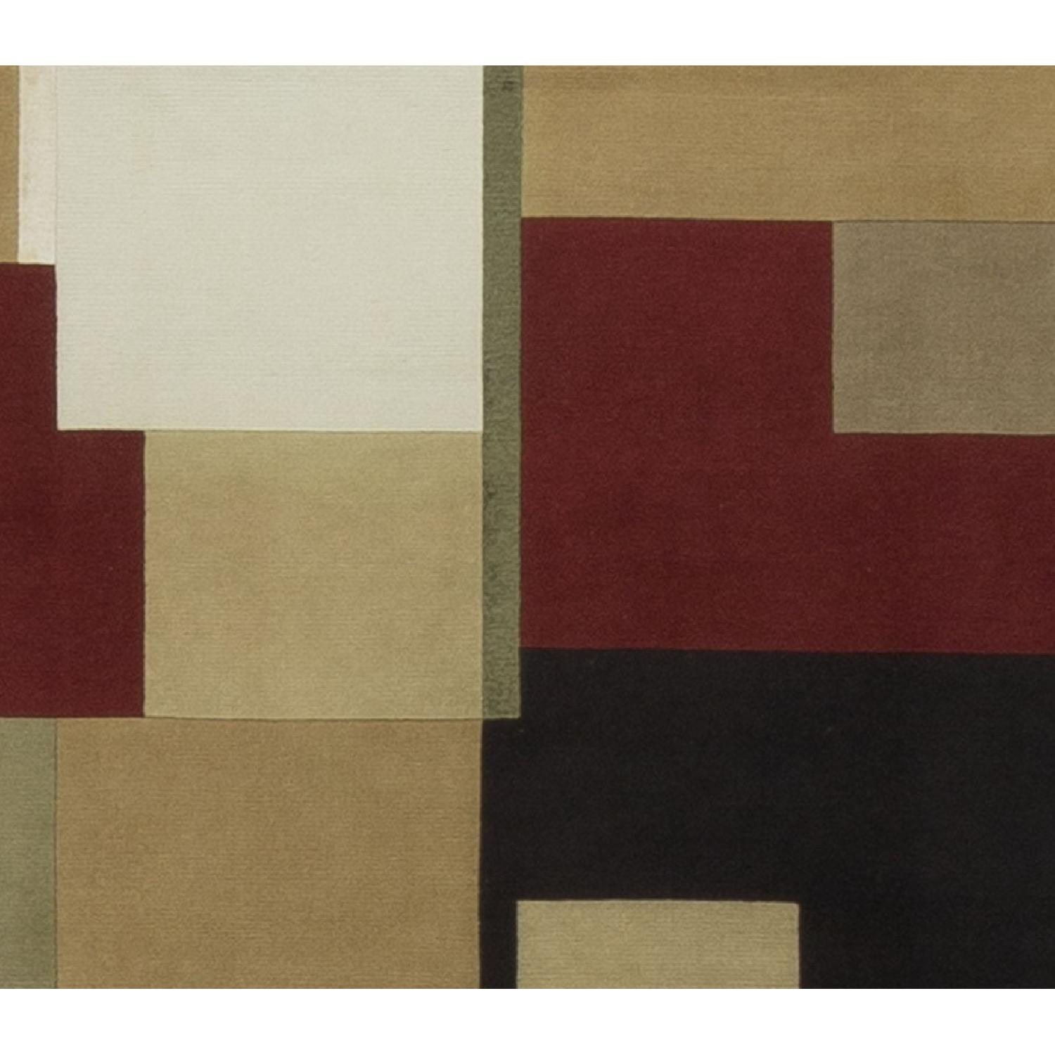 Modern Contemporary Hand Knotted Wool Rug in Red/White/Black/Beige - image-2