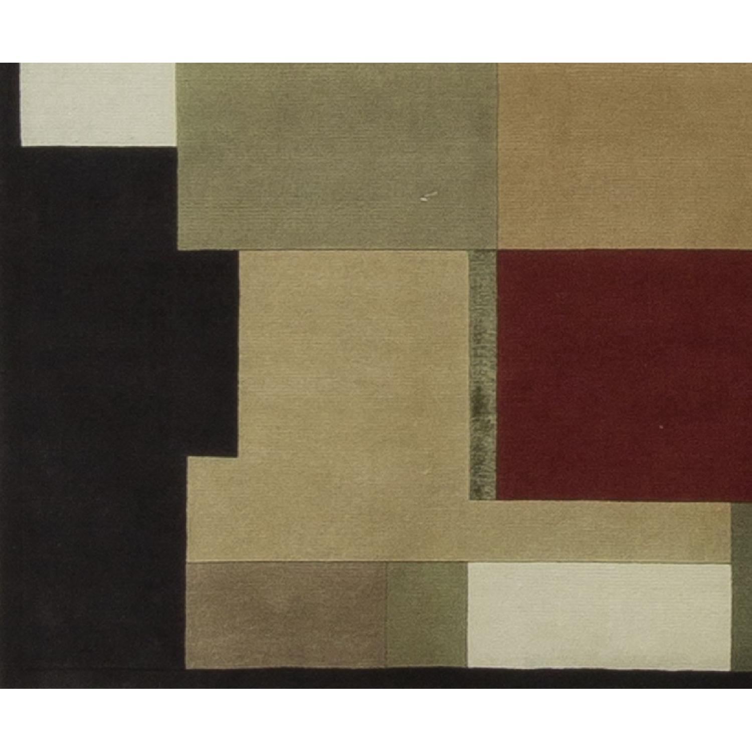 Modern Contemporary Hand Knotted Wool Rug in Red/White/Black/Beige - image-3