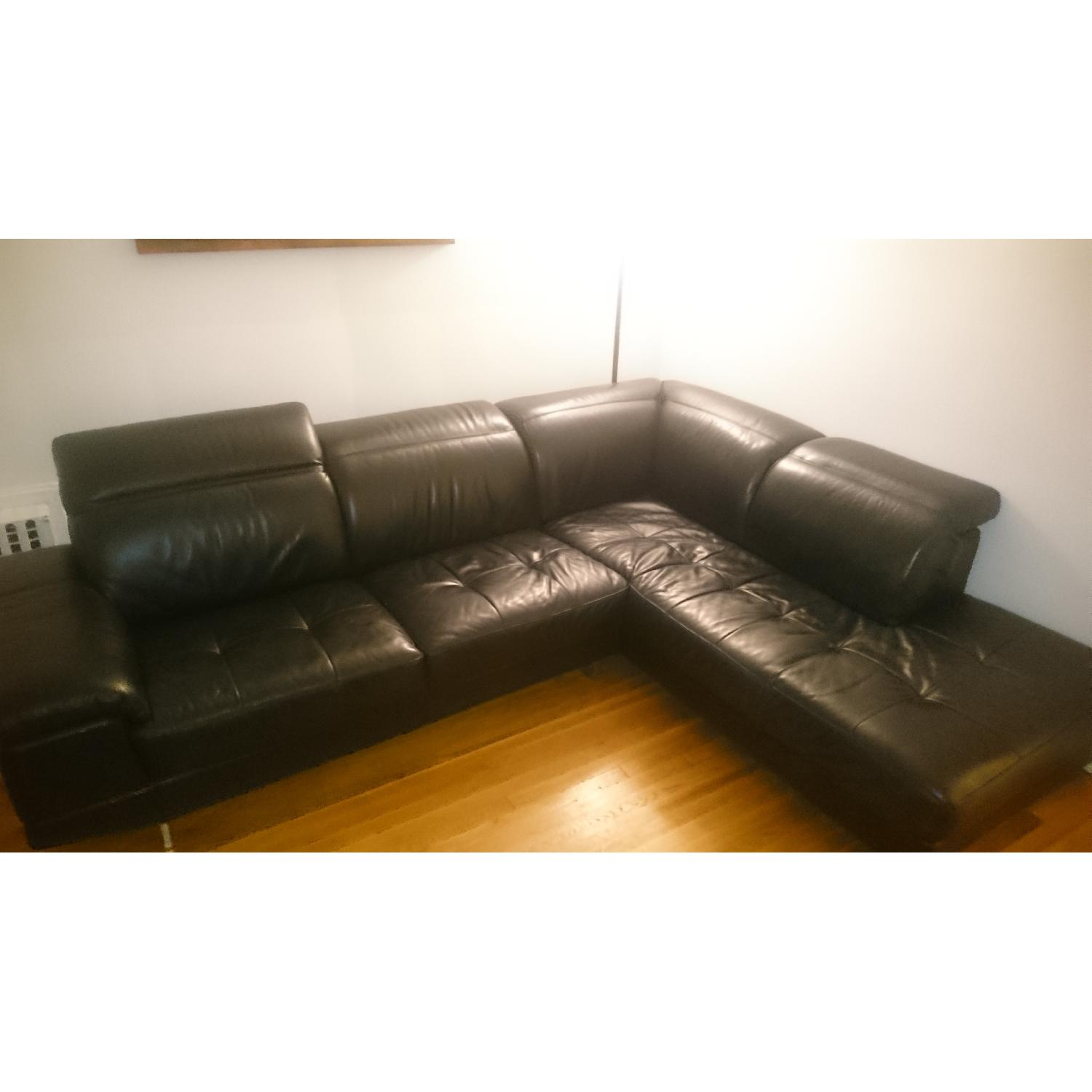 J&M Furniture Black Italian Leather Sectional Couch - image-1