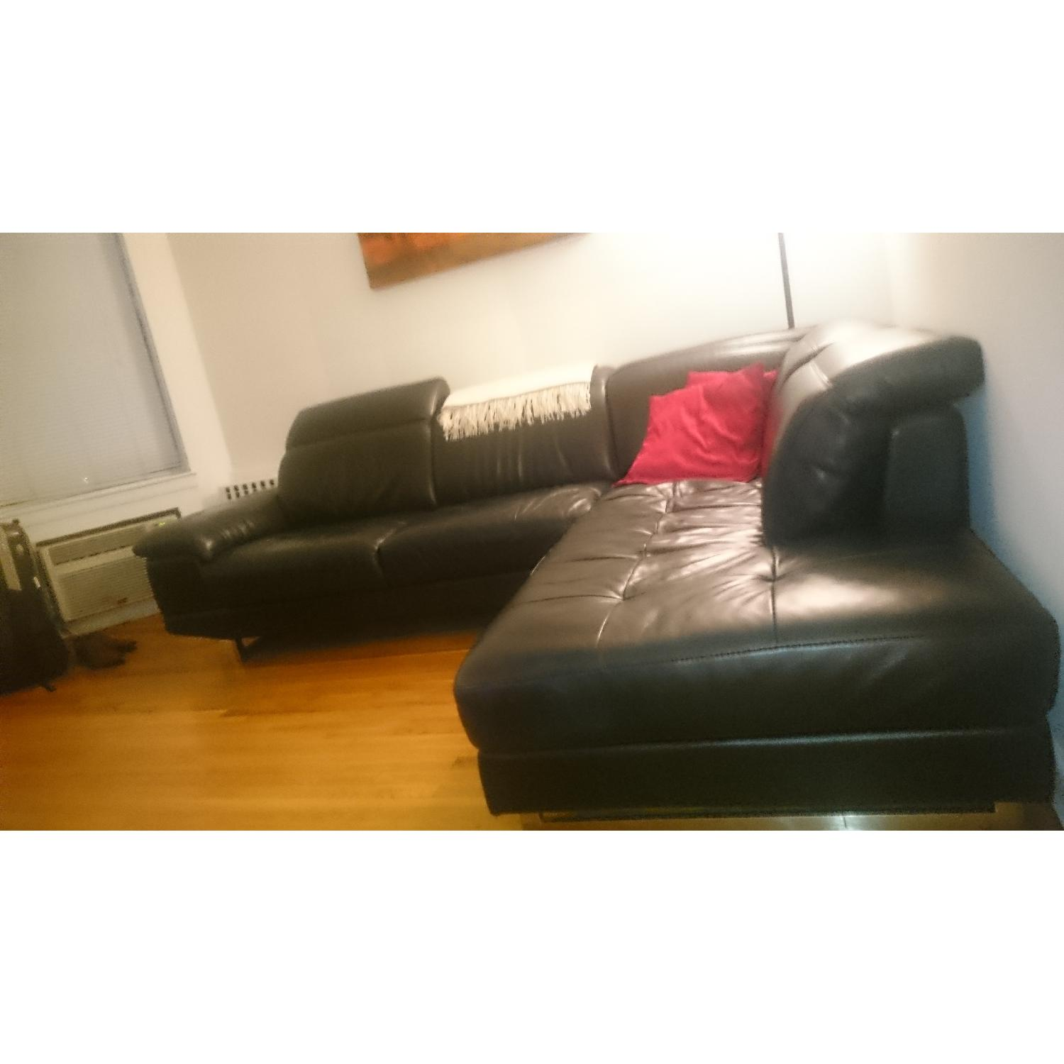 J&M Furniture Black Italian Leather Sectional Couch - image-2