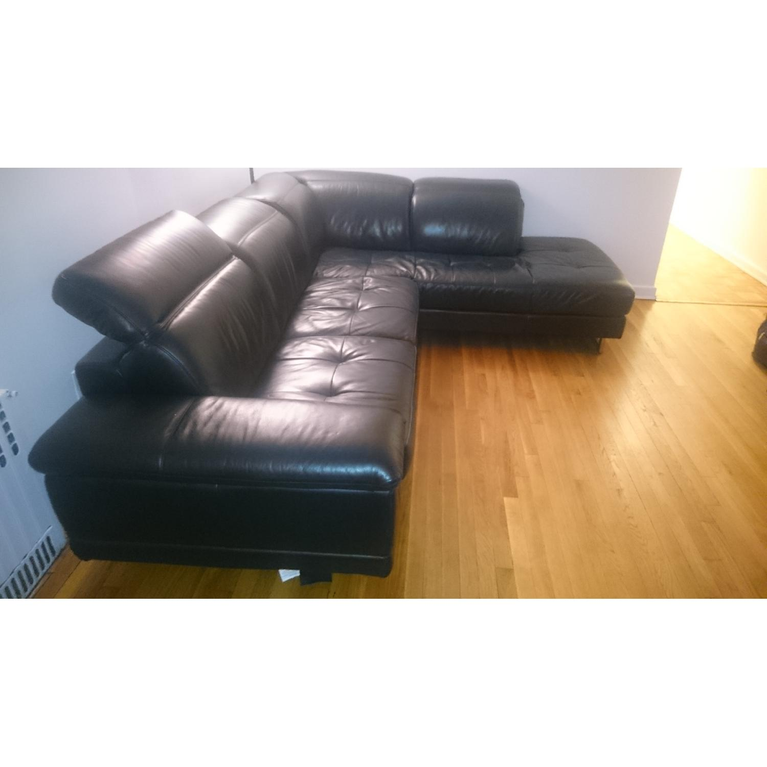 J&M Furniture Black Italian Leather Sectional Couch - image-3