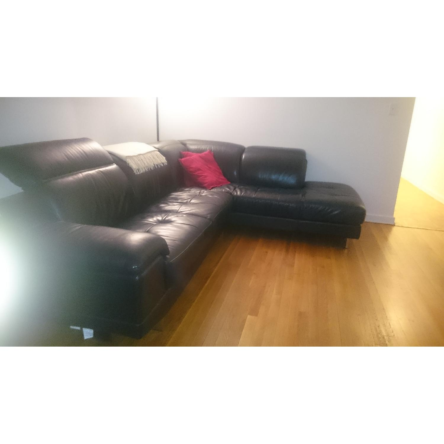 J&M Furniture Black Italian Leather Sectional Couch - image-4