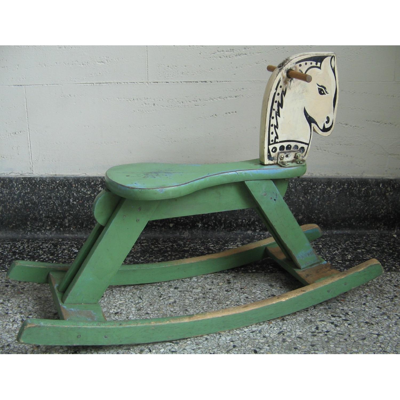 1940s Vintage Folk Art Children's Painted Rocking Horse Stool - image-4