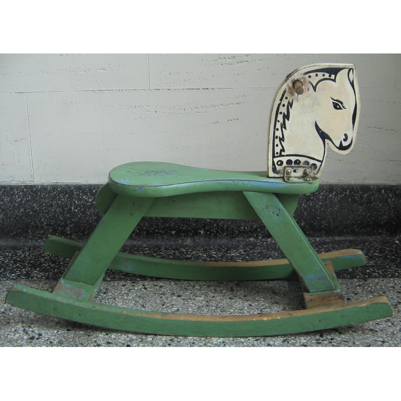 1940s Vintage Folk Art Children's Painted Rocking Horse Stool - image-5