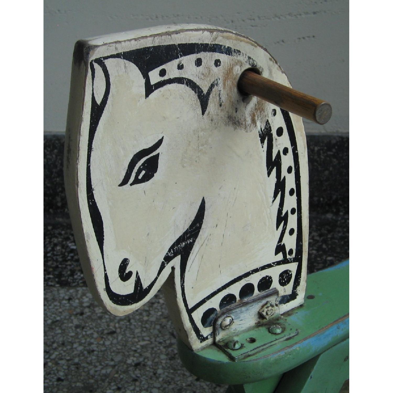 1940s Vintage Folk Art Children's Painted Rocking Horse Stool - image-9