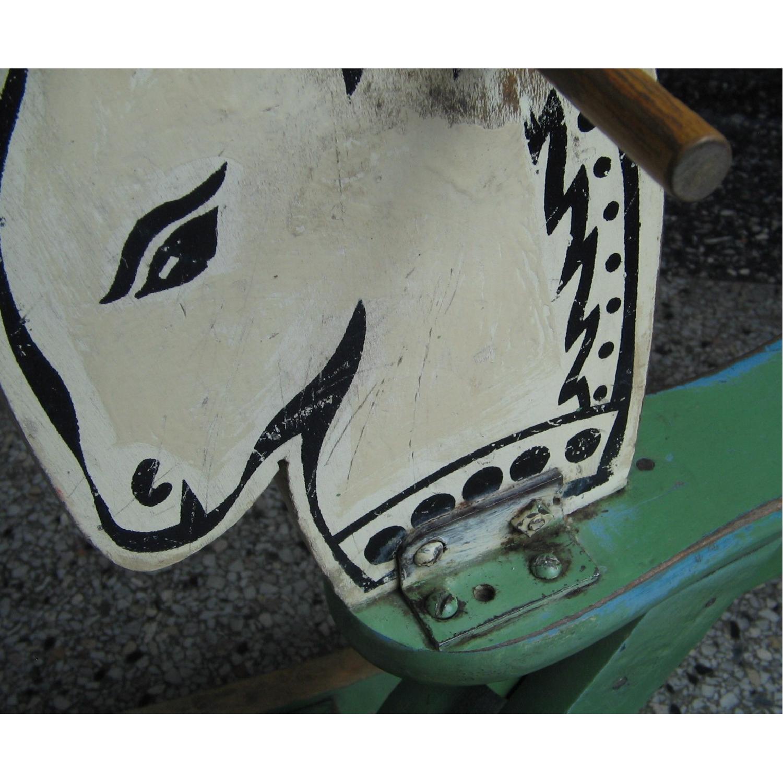1940s Vintage Folk Art Children's Painted Rocking Horse Stool - image-12