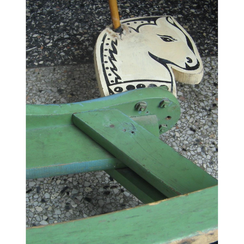 1940s Vintage Folk Art Children's Painted Rocking Horse Stool - image-16