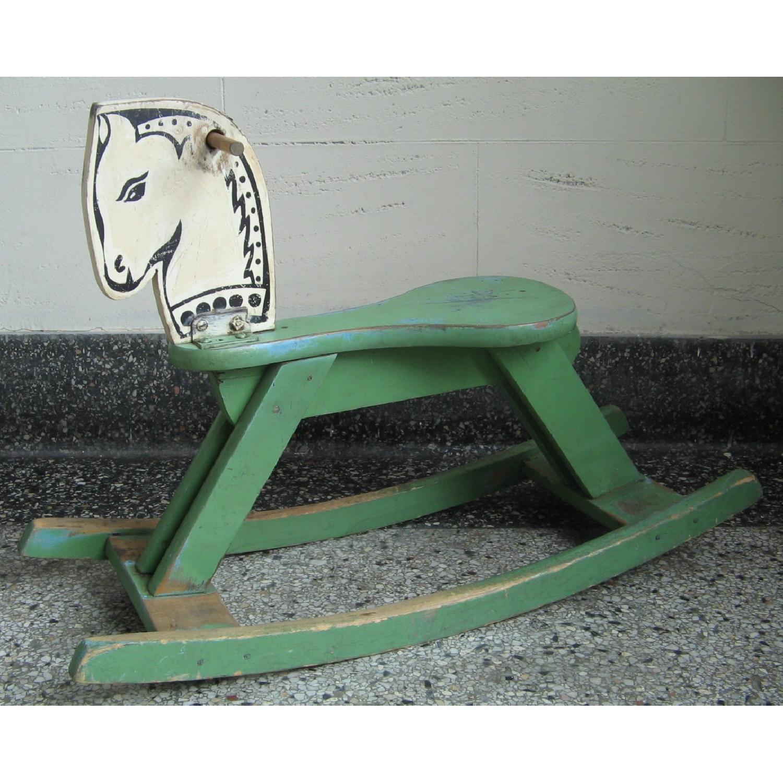 1940s Vintage Folk Art Children's Painted Rocking Horse Stool - image-17