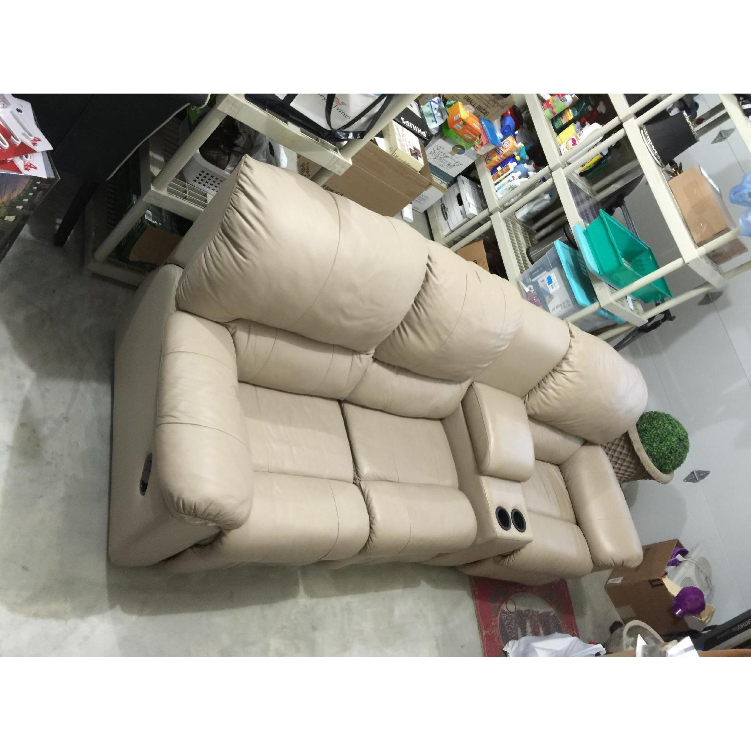 Tan Leather 4 Piece Sectional Sofa w/ Three Reclining Chairs - image-1
