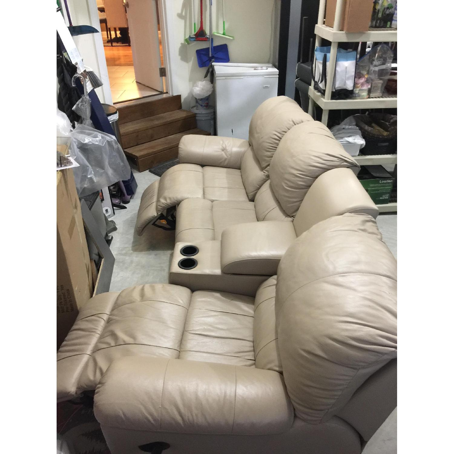 Tan Leather 4 Piece Sectional Sofa w/ Three Reclining Chairs - image-2