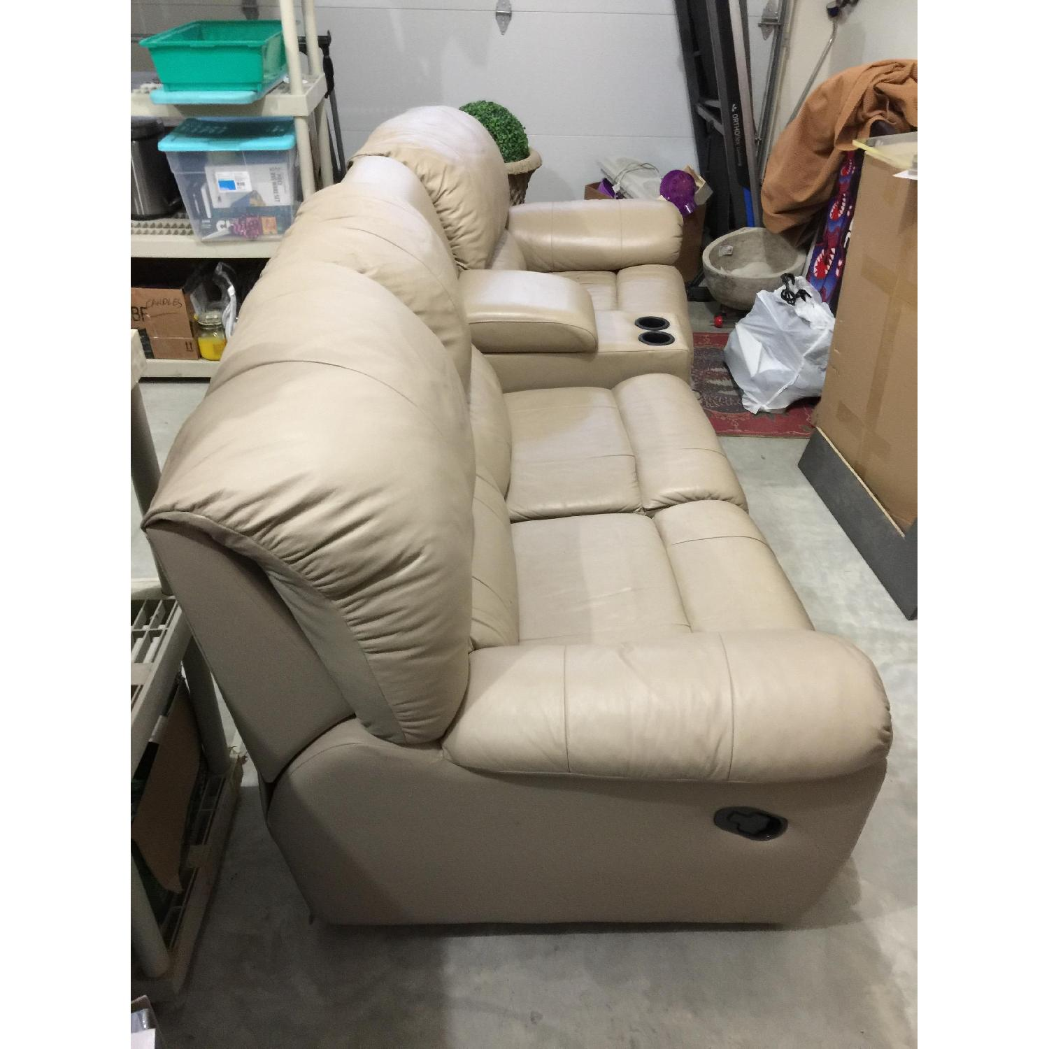 Tan Leather 4 Piece Sectional Sofa w/ Three Reclining Chairs - image-3
