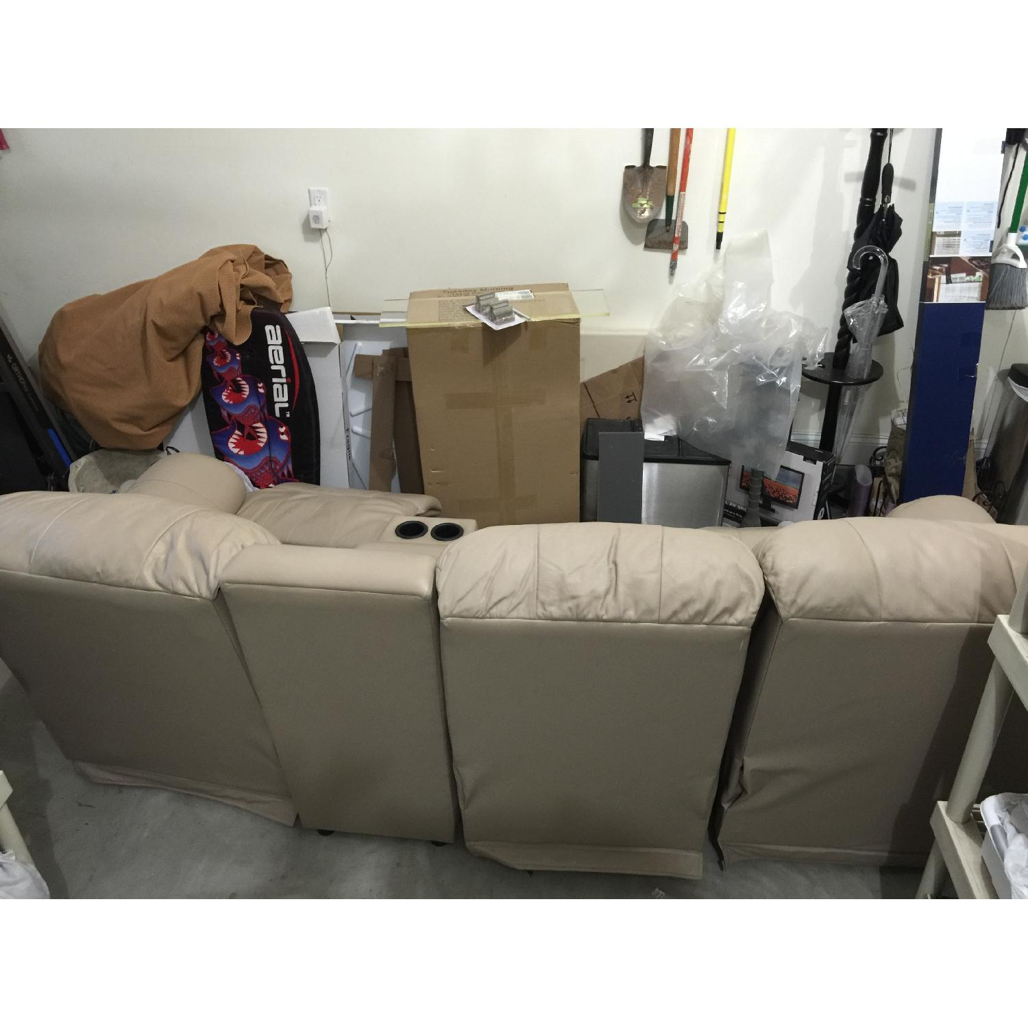 Tan Leather 4 Piece Sectional Sofa w/ Three Reclining Chairs - image-4