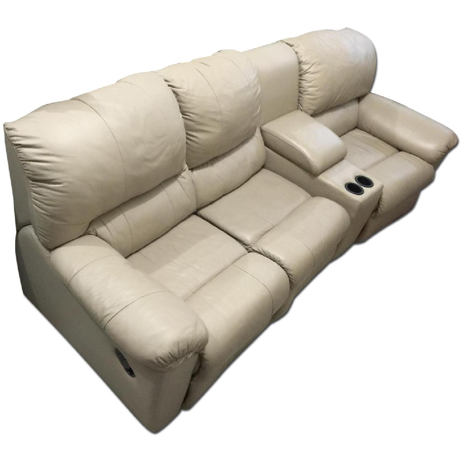 Tan Leather 4 Piece Sectional Sofa w/ Three Reclining Chairs - image-0